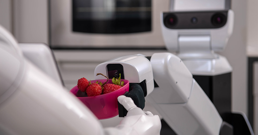 A Robot hold strawberry in a bowl. He give this bowl an other robot.