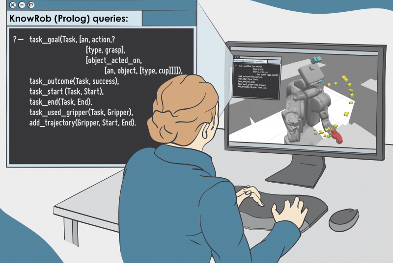 A Illustration of a woman, which programmed on a computer
