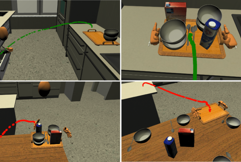 Four pictures present a virtual scenario in a kitchen. This scenario shows how to put kitchen items on a tablet and then on a table.