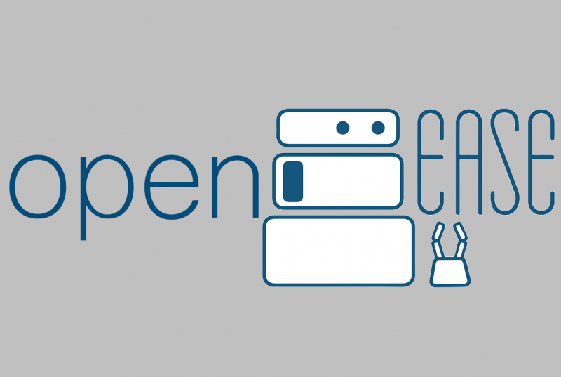 Logo of open ease. In the center is a illustration of a robot.